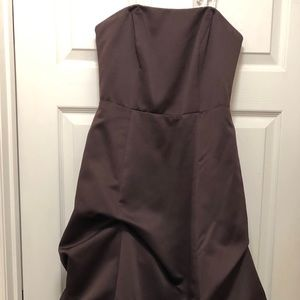 Long Strapless Gown with Rouched skirt
